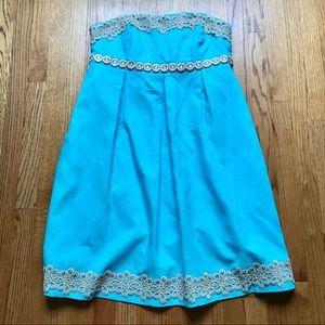 Lilly Pulitzer Aqua Gold Strapless Betsey Dress 14